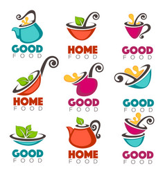 good home food collection of logo emblems vector image vector image