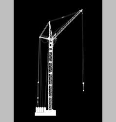 High detailed of white hoisting crane on black vector