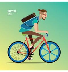 Man on a fix gear bike vector