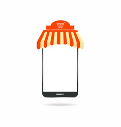 mobile shopping smartphone with modern roof vector image