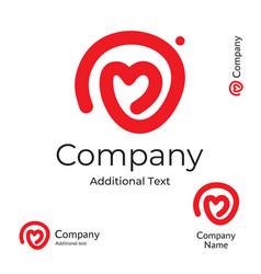 Modern line heart logo love identity brand vector