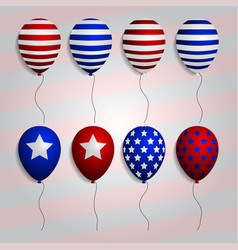 Realistic set balloons with american patriotic vector