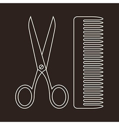 Scissors and comb symbols vector