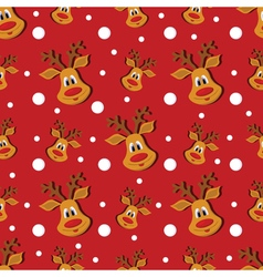Seamless christmas red pattern with deer and vector