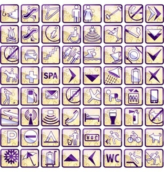 set of 64 stylish hotel icons vector image