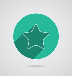 Star white icon with long shadow flat design vector