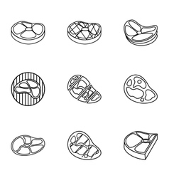 Steak icons set outline style vector