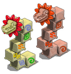Stone cubes with heads of dragons vector