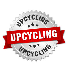 upcycling round isolated silver badge vector image