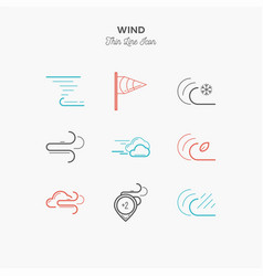 Wind hurricane tornado and more thin line color vector