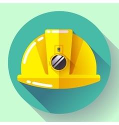 Yellow construction worker helmet with flashlight vector