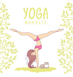 Yoga girl color vector