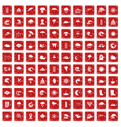 100 weather icons set grunge red vector