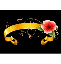 Flower and ribbon on black vector