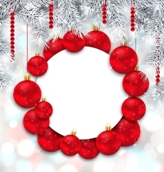 Christmas and Happy New Year Card with Red Balls vector image
