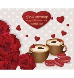 Two coffee cups and red velvet macaroons on hearts vector