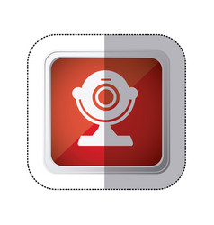 sticker red square button with silhouette webcam vector image
