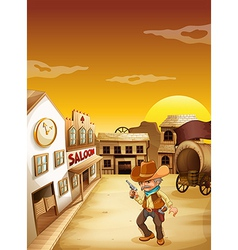An old cowboy holding a gun outside the saloon vector
