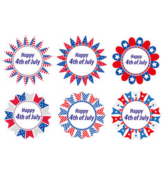Independence day america usa set of round frames vector