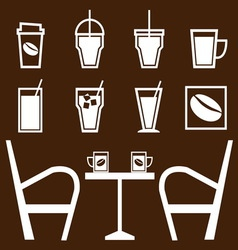 Set of drinks in coffee shop vector