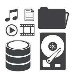 Big data icons set data storage and database vector