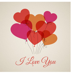 happy valentines card with hearts vector image