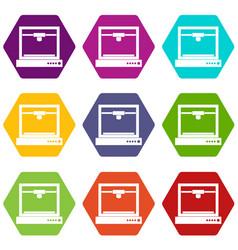3d printer model icon set color hexahedron vector image