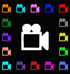 Camcorder icon sign lots of colorful symbols for vector