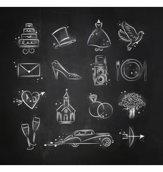 Wedding icons black vector image