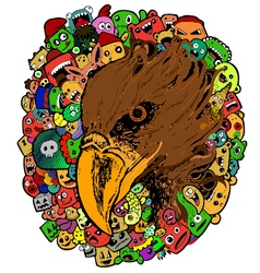 eagle doodle cartoon - hand drawing vector image