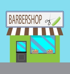 Barbershop building cartoon style vector