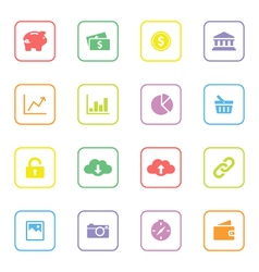 colorful web icon set 4 rounded rectangle frame vector image
