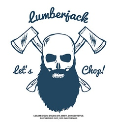 Lumberjack skull with beard and crossed axes vector