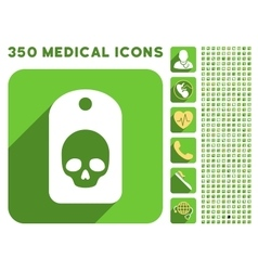 Skull label icon and medical longshadow icon set vector
