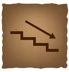 Stair down with arrow vector