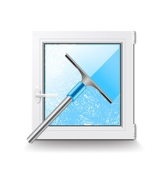 Window cleaning isolated on white vector