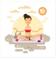 Yoga flat Woman sitting on the mat vector image