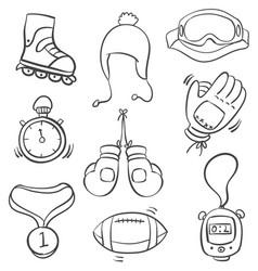 Art sport equipment doodle style vector