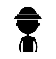 Black icon safari kid cartoon vector
