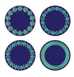 blue gold moroccan circle frames vector image vector image