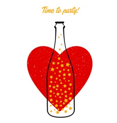 Bottle and heart vector image