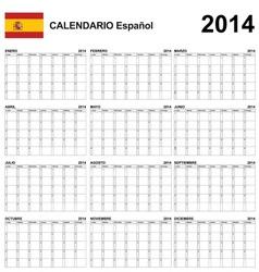 Calendar 2014 Spain Type 22 vector image vector image