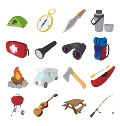 Camping cartoon icons vector