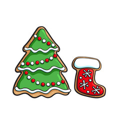 Christmas tree and santa boot gingerbread cookie vector