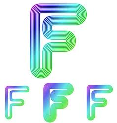 Colorful line letter f logo design set vector