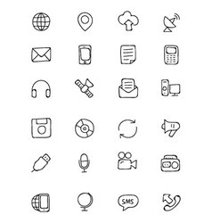 Communication hand drawn icons 1 vector