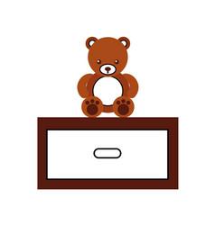 Cute bear teddy with nightstand vector