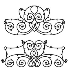 Decorative iron metal fence elegance retro vector