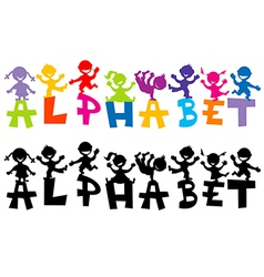 Doodle children with alphabet letters vector image