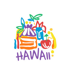 exotic summer vacation logo of hawaii beach vector image vector image